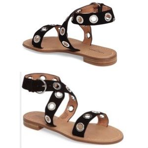 Halogen Elsie black leather perforated sandals